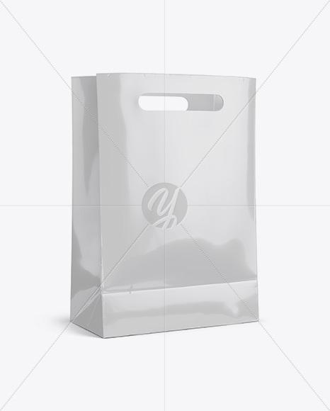 Glossy Shopping Bag Mockup - Halfside View (Eye-Level Shot)