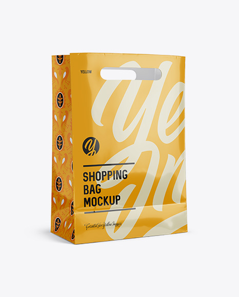 Download Glossy Shopping Bag Mockup - Halfside View (Eye-Level Shot) Object Mockups