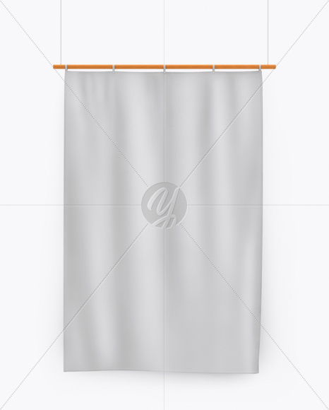 Vertical Flag With Wooden Pole Mockup - Front View