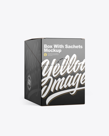 Download Free Closed Box w/ Sachets Mockup - Half Side View PSD Template