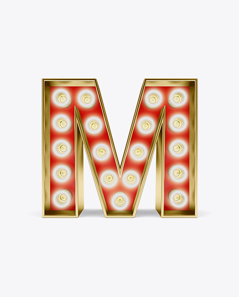 Download Free Letter M Light Bulb Sign Mockup PSD Template