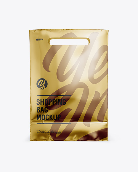 Metallic Paper Shopping Bag Mockup - Front View