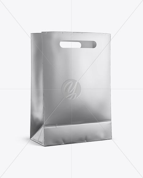 Matte Metallic Shopping Bag Mockup - Halfside View (Eye-Level Shot)