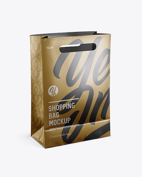 Matte Metallic Shopping Bag Mockup - Halfside View (High Angle Shot)