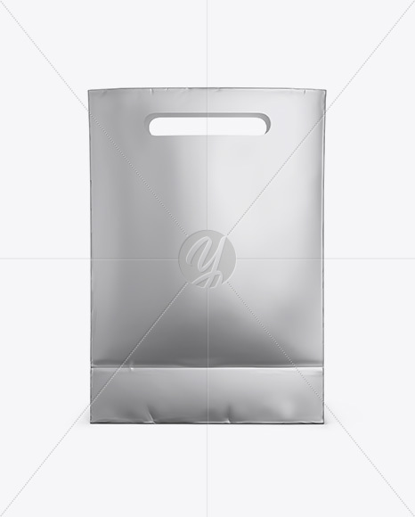 Matte Metallic Paper Shopping Bag Mockup - Front View