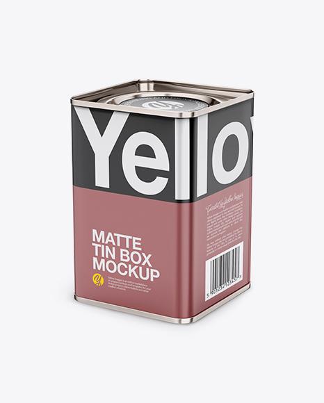 Download Free Matte Tin Box Mockup - Half Side View (High Angle Shot) PSD Template