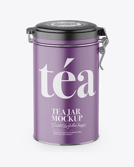 Download Matte Tea Round Jar With Locking Lid Mockup - High-Angle Shot Object Mockups
