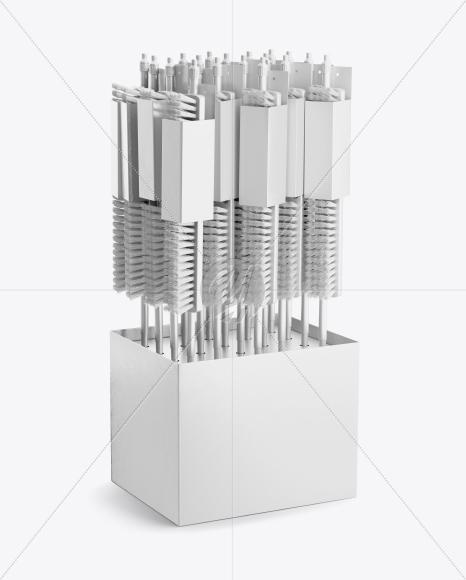Display Box w/ Brooms Mockup - Half Side View (High-Angle Shot)