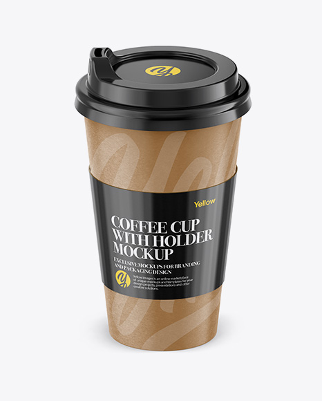 Download Paper Coffee Cup With Sleeve Mockup - Front View (High-Angle Shot) Object Mockups