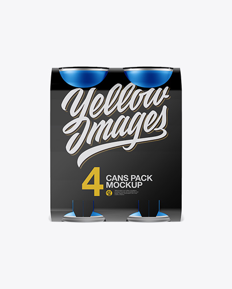 Carton Carrier W/ 4 Matte Metallic Cans Mockup - Front View