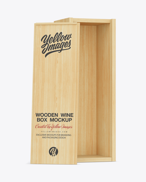 Download Opened Wooden Wine Box Mockup In Object Mockups On Yellow Images Object Mockups PSD Mockup Templates