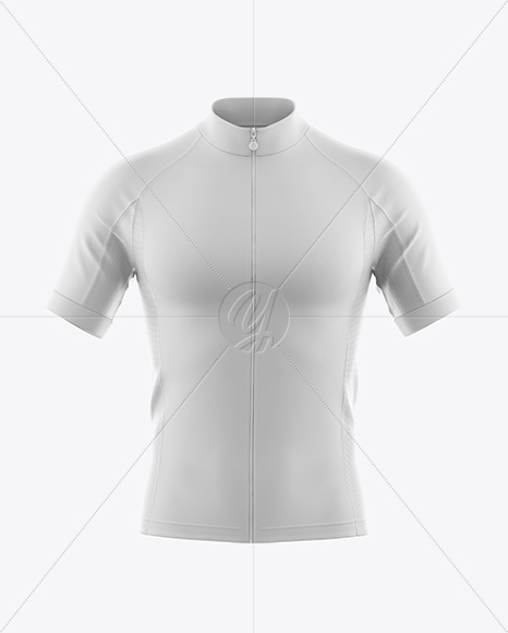 Men's Full-Zip Cycling Jersey Mockup - Front View