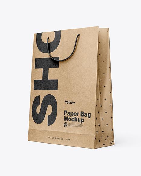 Download Free Kraft Paper Shopping Bag Mockup - Half Side View PSD Template