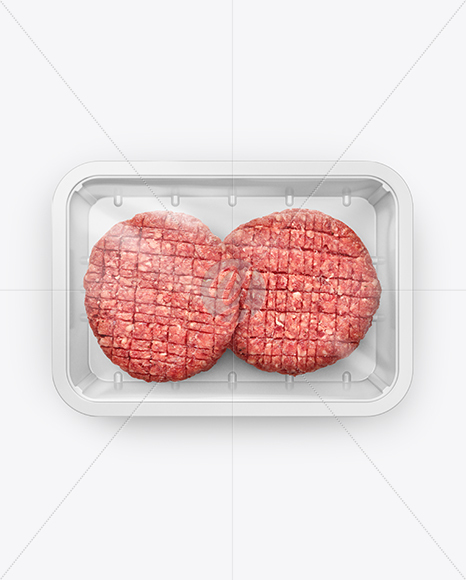 Plastic Tray With Cutlets Mockup - Top View