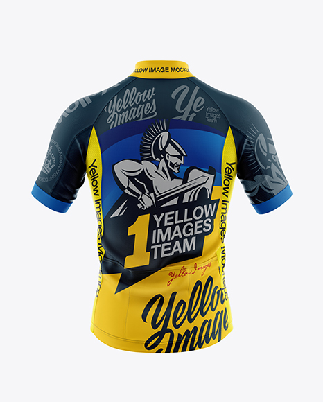 Download Men's Full-Zip Cycling Jersey Mockup - Back View in ... Free Mockups