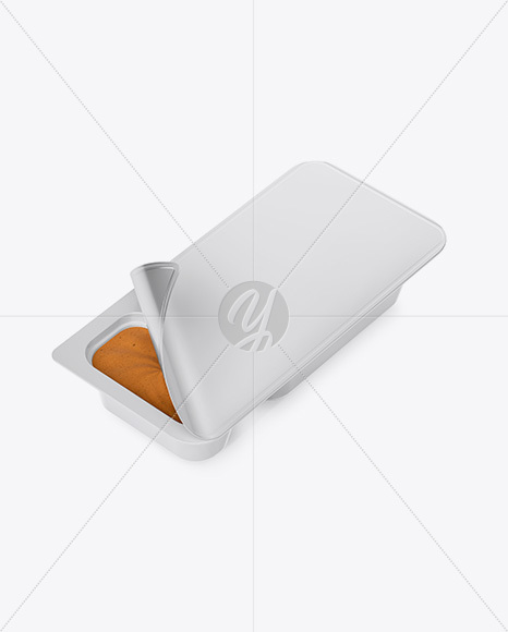 Plastic Container With Peanut Paste Mockup - Half Side View