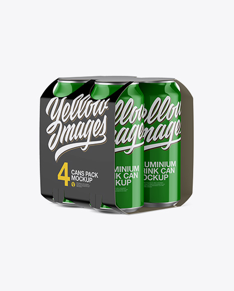 Download Carton Carrier W/ 4 Glossy Cans Mockup - Half Side View Object Mockups