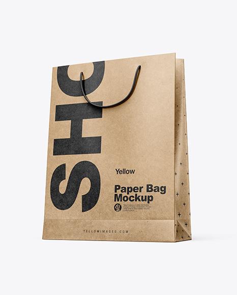 Download Kraft Paper Shopping Bag Mockup - Half Side View (Hero Shot) Object Mockups