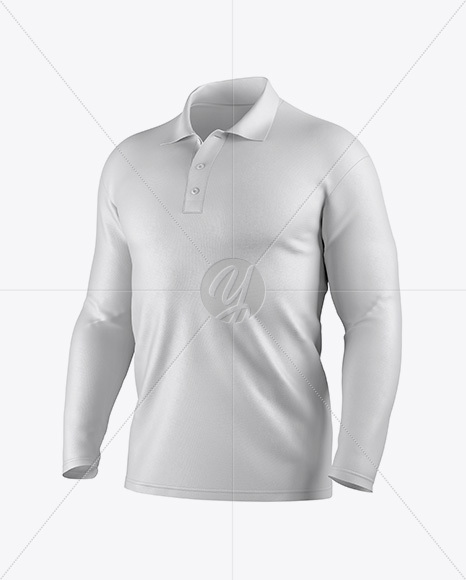 e459d48cc Men s Polo With Long Sleeve Mockup - Half Side View in Apparel ...