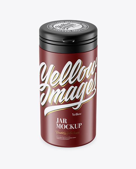 Matte Plastic Jar Mockup - Front View (High-Angle Shot)