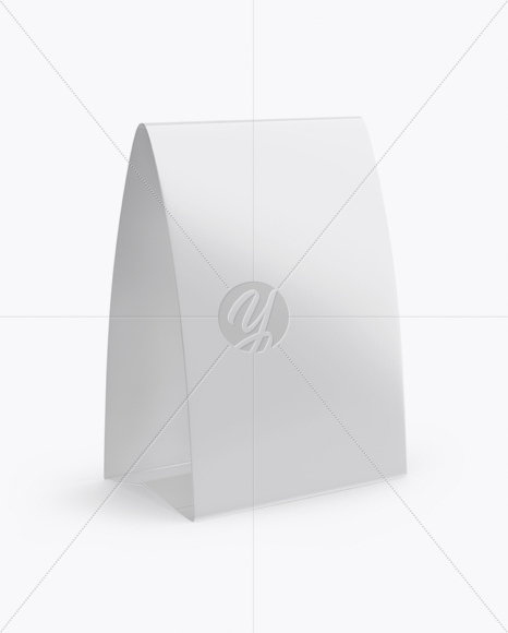 glossy paper table tent mockup half side view in indoor
