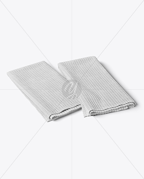 Two Folded Waffle Towels Mockup - Half Side View