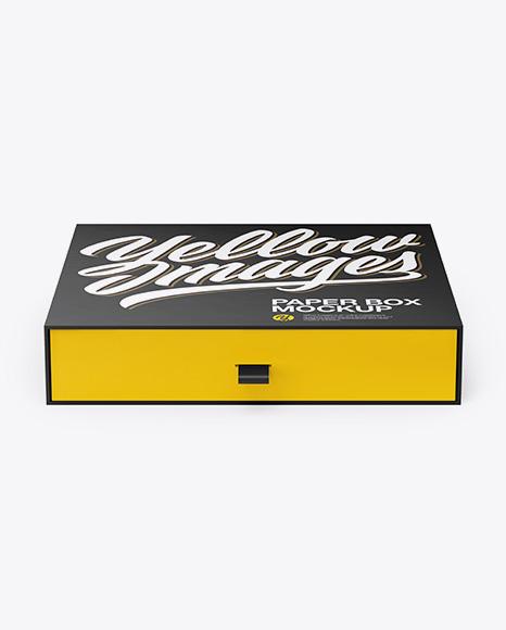 Download Paper Slide Box Mockup - Front View (High Angle Shot) Object Mockups