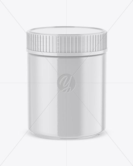 Glossy Plastic Jar Mockup (High-Angle Shot)