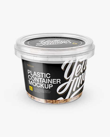 Plastic Container w/ Peanuts Mockup - Front View (High-Angle Shot)