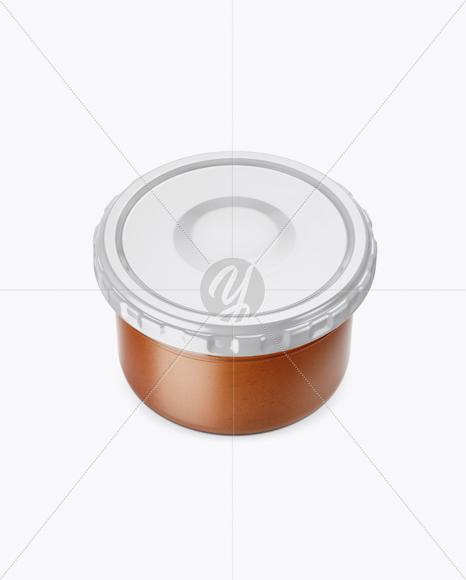Clear Glass Sauce Jar Mockup (High-Angle Shot)