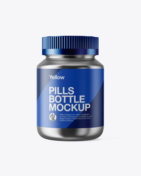 Metallic Pills Bottle Mockup Front View