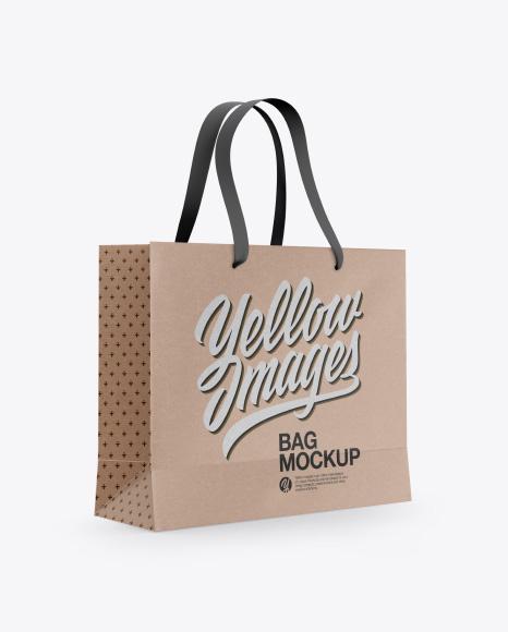 Download Kraft Bag with Raised Up Handles Mockup - Half Side View Object Mockups