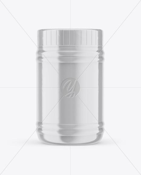 Plastic Jar in Shrink Sleeve Mockup - Front View
