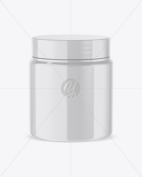 Glossy Protein Jar Mockup (High-Angle Shot)