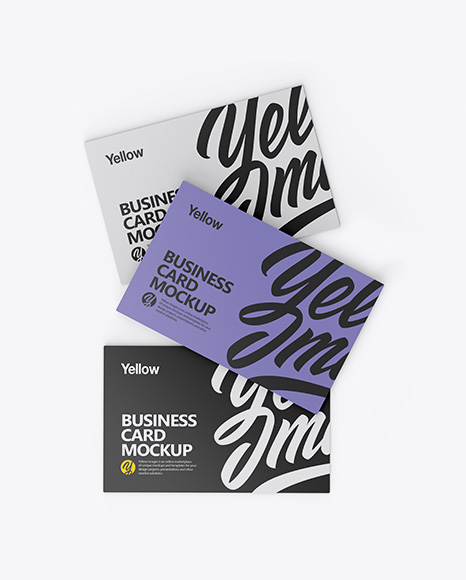 Download Free Three Textured Business Cards Mockup - Top View PSD Template