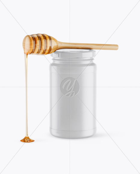 Ceramic Honey Jar With Spoon Mockup - Front View (High-Angle Shot)