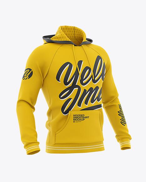 Men's Hooded Sweatshirt Mockup - Half Side View