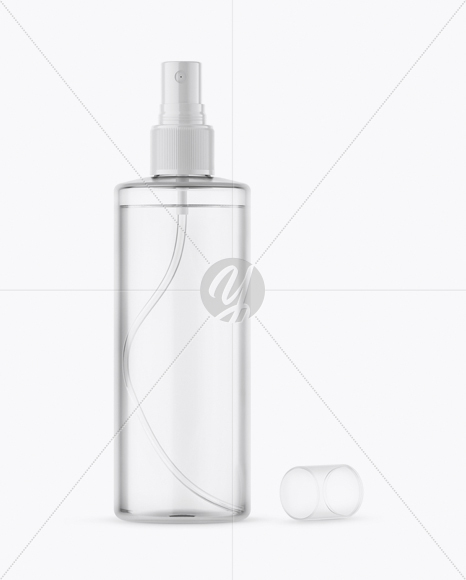 Opened Clear Spray Bottle With Transparent Сap Mockup