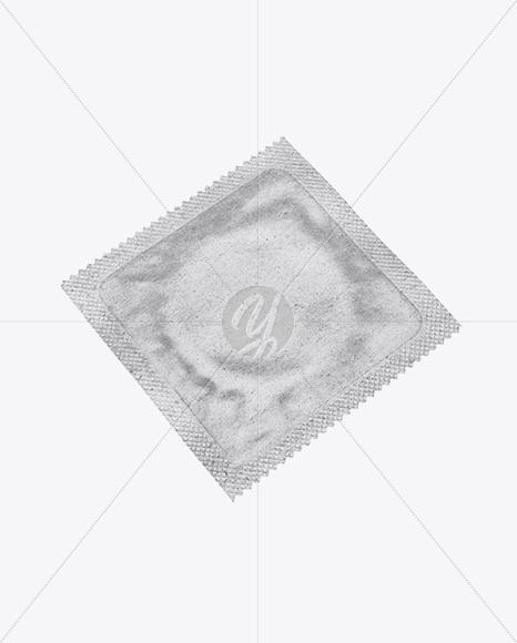 Kraft Paper Square Condom Packaging Mockup - Half Side View