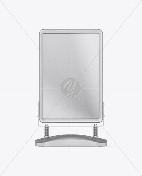 Metallic Pavement Stand Mockup - Front View