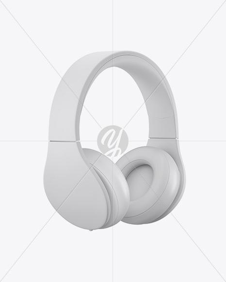 Matte Headphones Mockup - Half Side View
