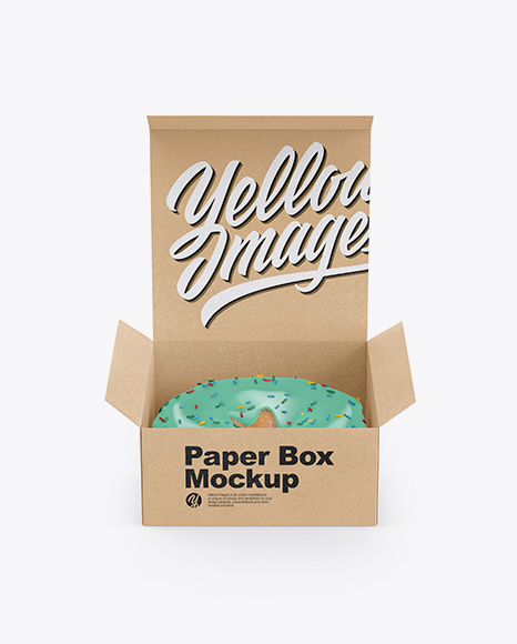 Opened Kraft Box With Donut Mockup Front View High Angle Shot