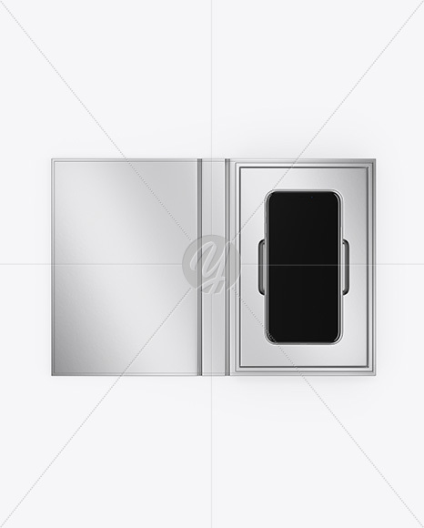 Metallic Gift Box With Apple iPhone X Mockup - Top View