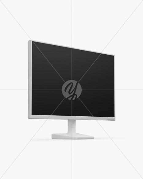 Matte Monitor Mockup - Half Side View