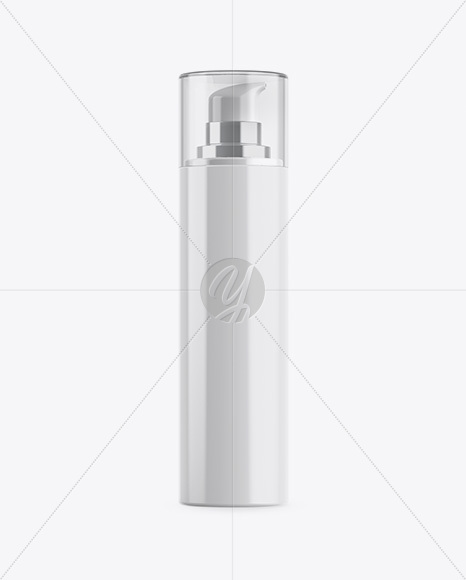 Glossy Cosmetic Bottle w/ Pump Mockup