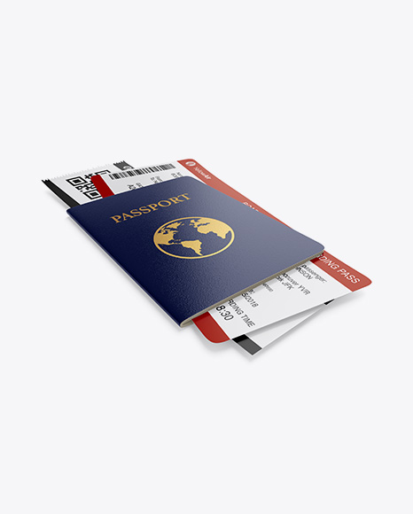 Download Passport w/ Tickets Mockup - Half Side View Object Mockups