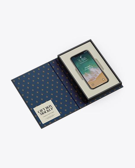 Free PSD Mockup Matte Gift Box With Apple iPhone X Mockup