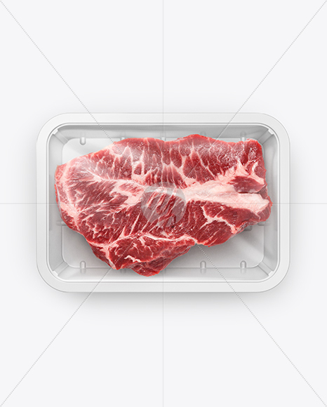 Plastic Tray With Marbled Beef Mockup - Top View