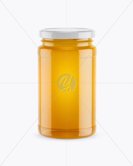 Honey Jar Mockup - Front View (High-Angle Shot)