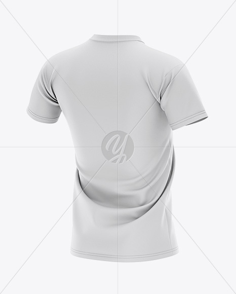 Men's V-neck Football Jersey Mockup - Back Half-Side View